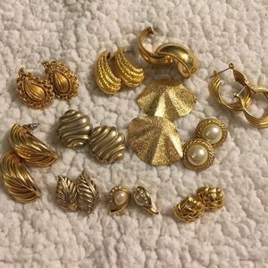 Jewelry - Lot of 11 Pairs Vintage Gold Earrings